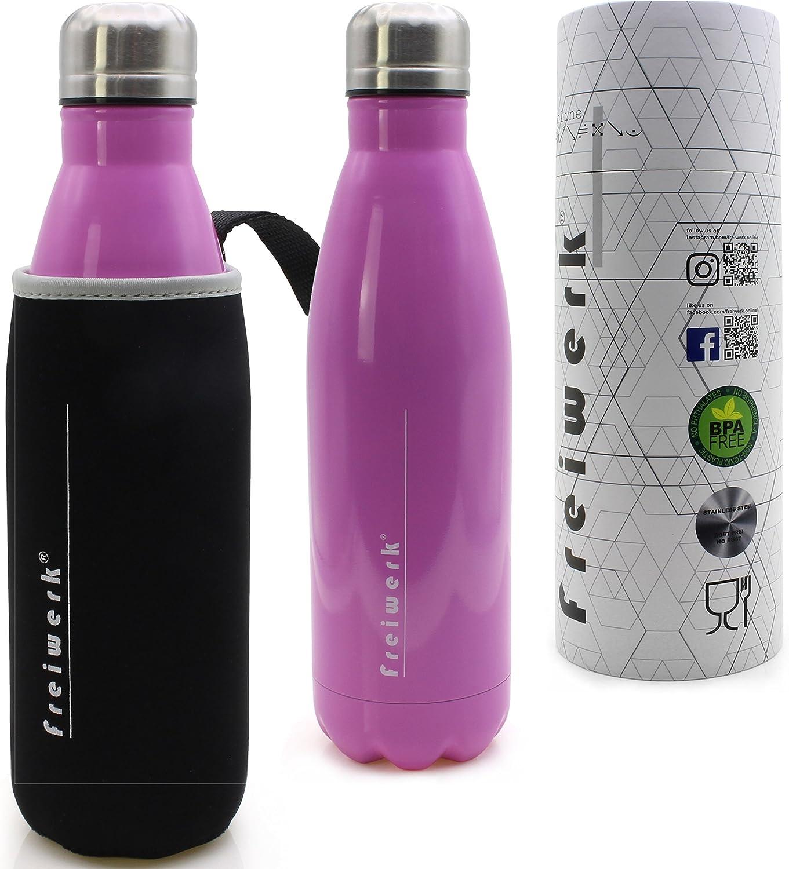 botella termo freiwerk® botella termo para beber acero inoxidable aislado doble pared para ir cubierta protectora de neopreno camping sport bike outdoor pink 500ml