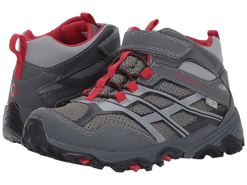 Merrell Kids Moab FST Mid A/C Waterproof (Little Kid) (Grey/Red) Boys Shoes