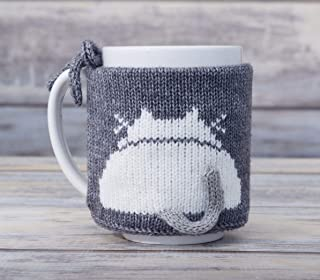 Pet Lover Gift Knit Slate Gray Coffee Mug Cosy Cat Butt White Kitty Teacup Sleeve Tea Cup Sweater Cozy Warmer