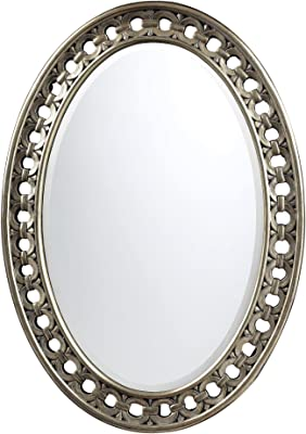 Sterling DM2017 Sumner Polyurethane Oval Mirror, 34-Inch, Antique Silver