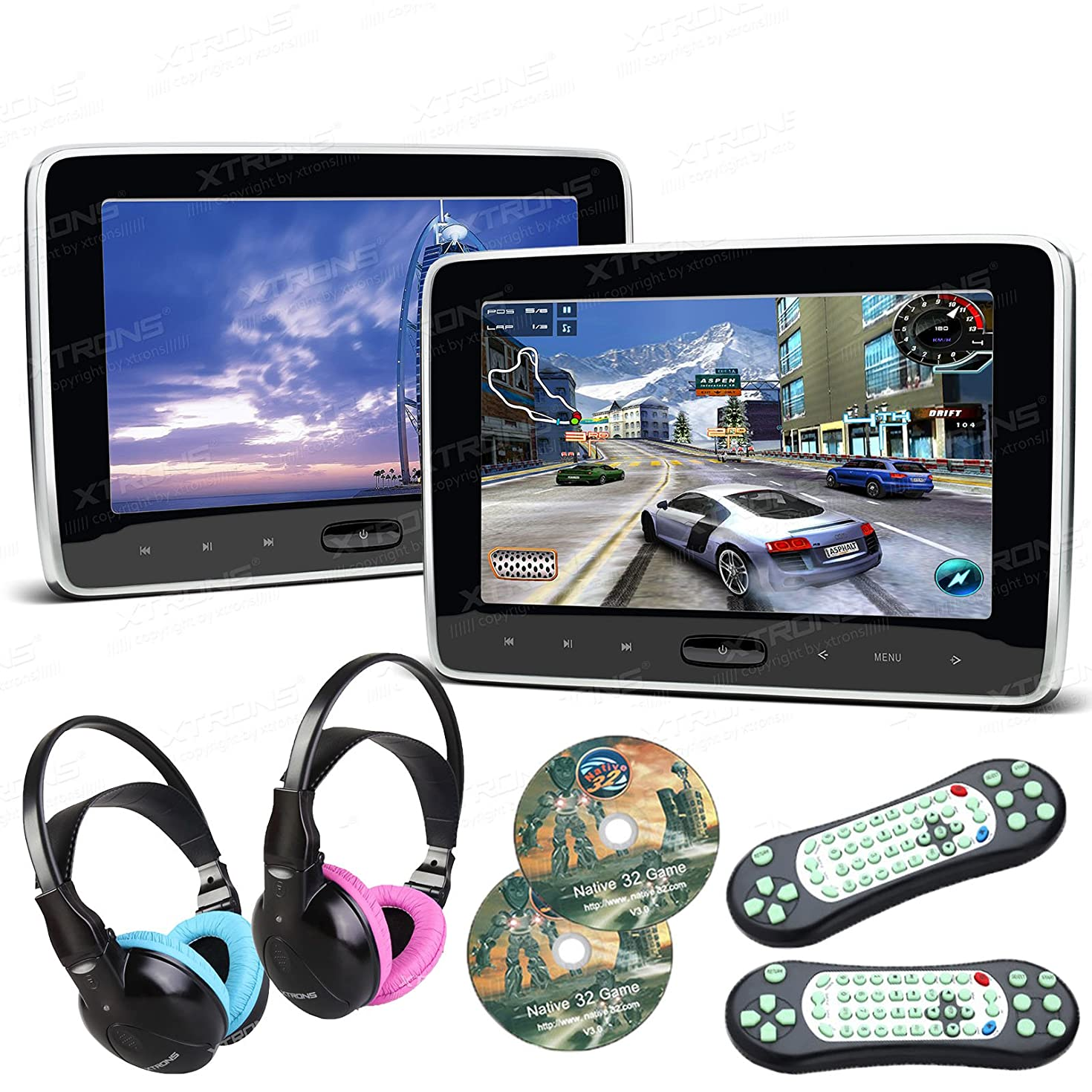 XTRONS Pair 2x10.1 Inch Car Auto Headrest HDMI Slim DVD Player Silver Frame Portable Monitor IR/FM Game Children Headphones Included(BlueΠnk)