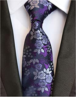 Men's Tie Cravat Jacquard Luxury Small Floral Pattern Wedding Necktie by Elfeves