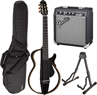 Yamaha SLG200N TBL Nylon Silent String Acoustic Electric Guitar (Translucent Black) bundled with the Fender Frontman 10G Electric Guitar Amplifier, Gigbag, and Guitar Stand