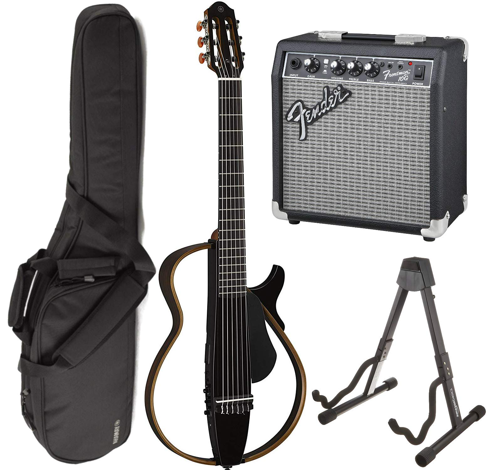 Cheap Yamaha SLG200N TBL Nylon Silent String Acoustic Electric Guitar (Translucent Black) bundled with the Fender Frontman 10G Electric Guitar Amplifier Gigbag and Guitar Stand Black Friday & Cyber Monday 2019