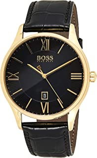Hugo Boss Unisex-Adult Quartz Watch, Analog Display and Leather Strap 1513554