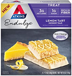 Atkins Endulge Treat Tart Dessert Bar, Lemon, 1.2 Ounce, (Pack of 5)