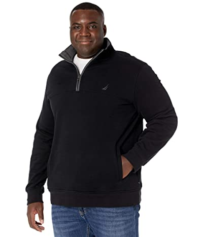 Nautica Big & Tall Big Tall 1/4 Zip Fleece (True Black) Men