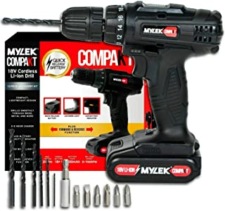 MYLEK MYCCB1 18V Cordless Drill Driver Lithium Ion Powerful Battery Electric Screwdriver Set, 18 Volts, 13pce Accessories ...