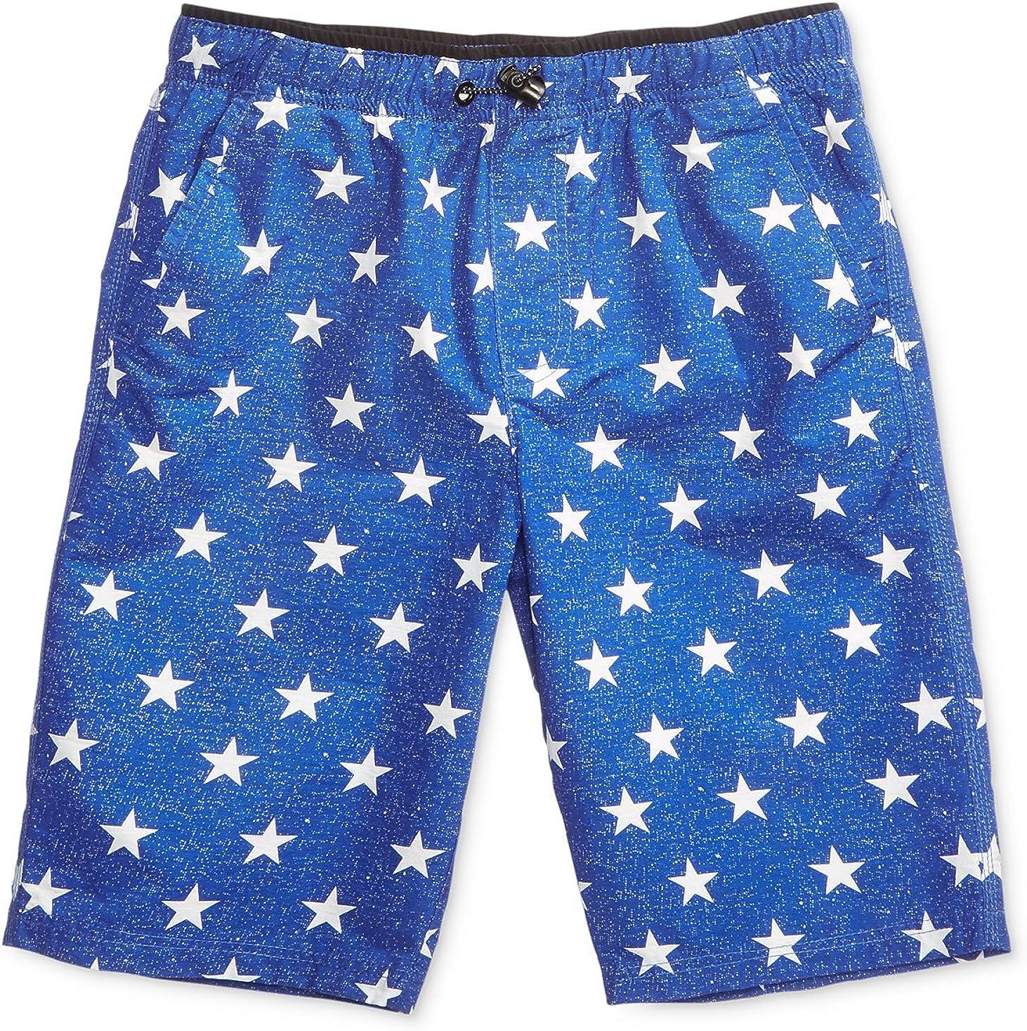 Univibe Graphic-Print Shorts, Big Boys, Blue, Size: L