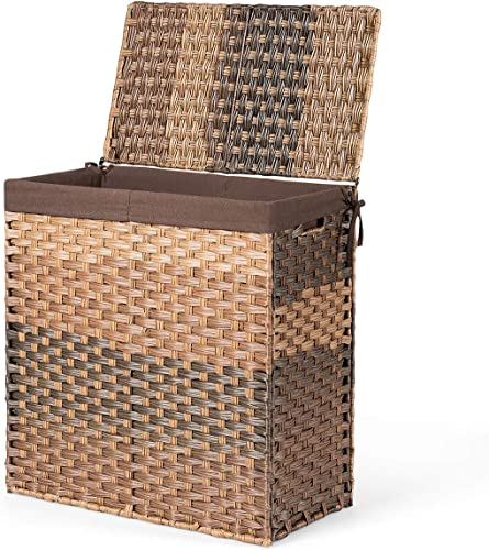 """popular Giantex Laundry Hamper Hand-Woven Synthetic Rattan outlet online sale Laundry Basket W/ Removable Divided Washable Liner Bag, Lid and Handles Foldable new arrival and Portable Rectangular Laundry Basket (23"""" x 13"""" x 24"""", Brown) outlet sale"""