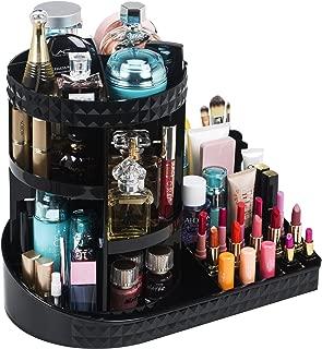 Readaeer 360 Degree Rotating Adjustable Makeup Organizer Cosmetics Lipsticks Perfumes Storage Tray Box (Black)