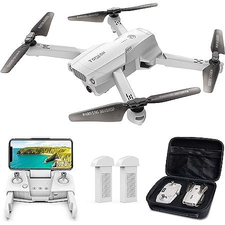 ドローン Tomzon GPS搭載 4K HD 広角カメラ付き 200g以下 リアルタイム伝送 折り畳み式 高度維持・ワンキー離陸/着陸・フォローミーモード・ジェスチャー撮影 ・MVモード・オートリターン 収納ケース付き バッテリー2個 飛行時間40分 国内認証済み 2年間保証 (グレー)