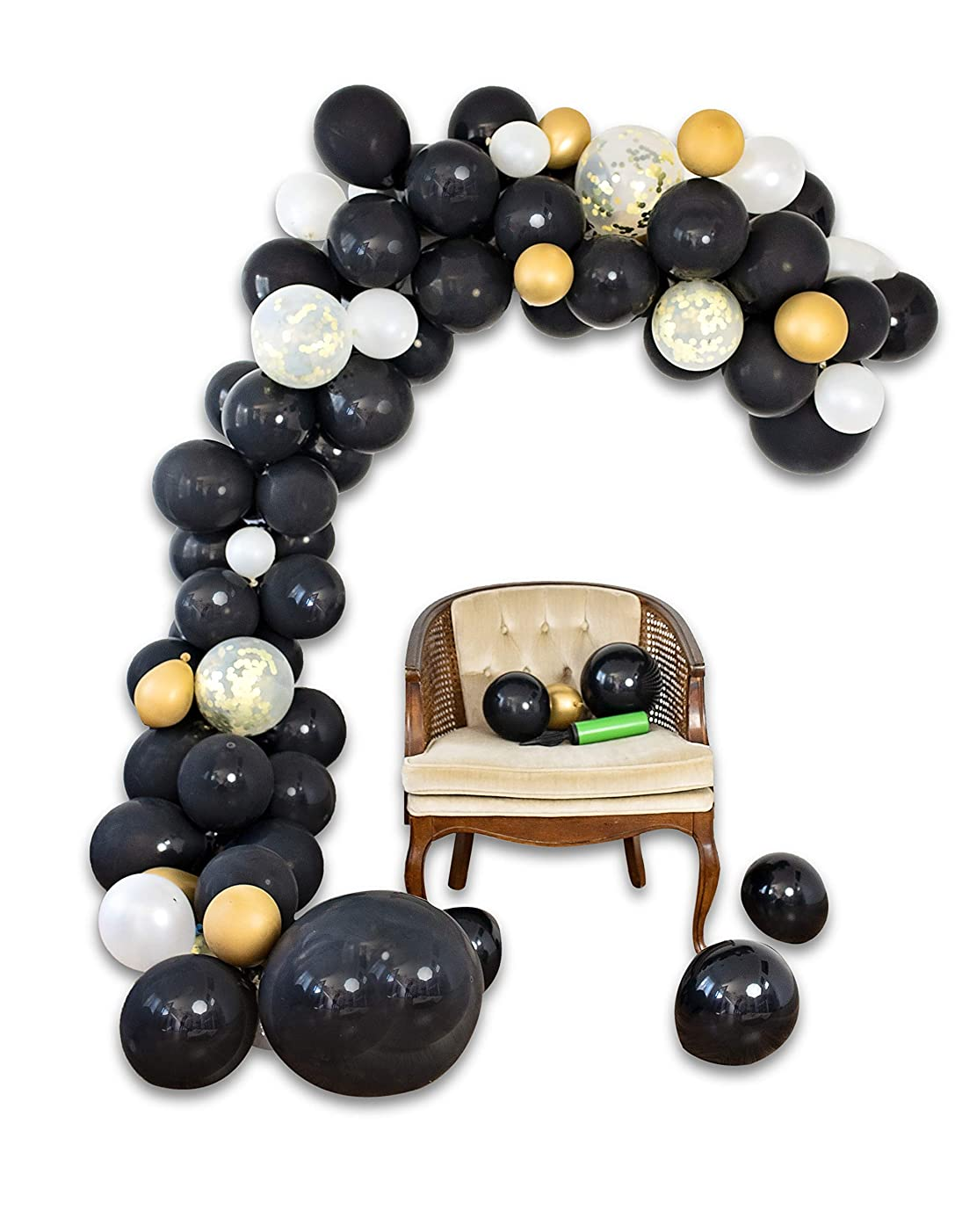 Balloon arch Garland Kit | Black White Gold Confetti Balloons in Assorted Sizes | Decorations for Parties Wedding Baby Shower Graduation | Includes Glue Dots Strip Inflator Pump