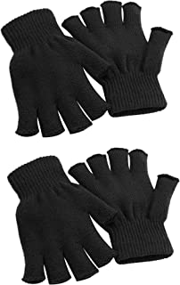 Cooraby 2 Pairs Unisex Warm Half Finger Gloves Winter Stretchy Fingerless Gloves Typing Gloves for Women, Men or Teens