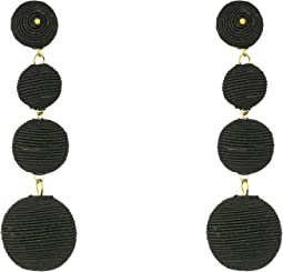 Kenneth Jay Lane 3 Black Thread Small To Large Matte Wrapped Ball Clip Earrings w/ Dome Top