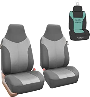 FH Group FB101102 Supreme Twill Fabric High-Back Pair Set Car Seat Covers, Airbag Compatible, Light/Dark Gray Color with Gift - Universal Car, Truck, SUV, or Van