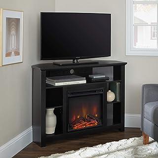WE Furniture 44 Wood Corner Fireplace TV Stand - Black