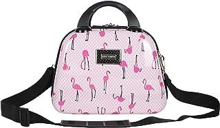 Hardside Cosmetic Case - Lightweight Small Size Hardshell Travel Hand Makeup Bag - Adjustable Shoulder Strap - Bag for Women and Girls - Multi-Functional Case (Flamingo Strut)
