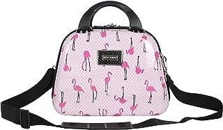 Betsey Johnson Hardside Cosmetic Case - Lightweight Small Size Hardshell Travel Hand Makeup Bag - Adjustable Shoulder Strap - Bag for Women and Girls - Multi-Functional Case (Flamingo Strut)