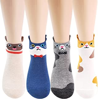 Best Womens Cat Socks - Crazy Cute Animal Dog Owl Print Crew Novelty Fun Funny Gift Review