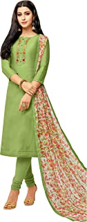 Rajnandini Women's Light Green chanderi silk Embroidered Semi-Stitched Salwar Suit Material With Printed Dupatta (Free Size)
