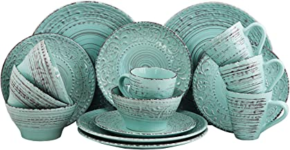 Elama Malibu Waves Embossed Stoneware Ocean Dinnerware Dish Set, 16 Piece, Turquoise