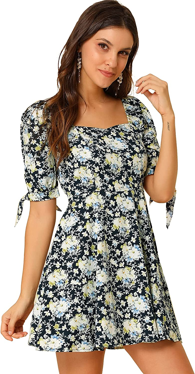 Spasm price Allegra K Women's Floral Printed Neck Challenge the lowest price Sweetheart Sleeve Puff Fit