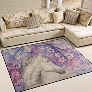 ALAZA Oil Painting Horse Cherry Blossom Area Rug Rugs for Living Room Bedroom 5'3