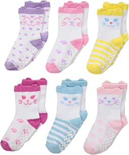 Non-Skid Cat Socks 6-Pack (Infant/Toddler)
