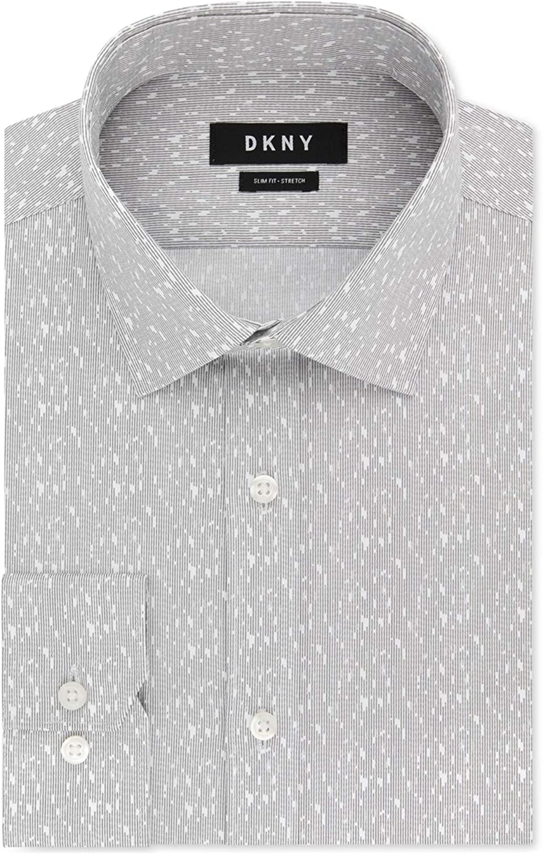DKNY Mens Slim Button Up Dress Shirt, Grey, 18