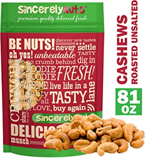 Sincerely Nuts – Whole Cashews Roasted and Unsalted | Five Lb. Bag | Deluxe Kosher Snack Food | Healthy Source of Protein, Vitamin & Mineral Nutritional Content | Gourmet Quality Vegan Cashew Nut