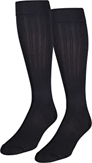 NuVein Women's Compression Socks Dress Trouser Style Over Calf Knee High, Black, Medium