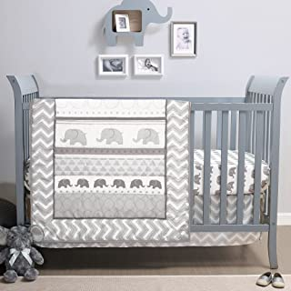 69bff6d7d1bcc Elephant Walk 4-Piece Jungle Geometric Chevron Grey Baby Crib Bedding Set  by Belle