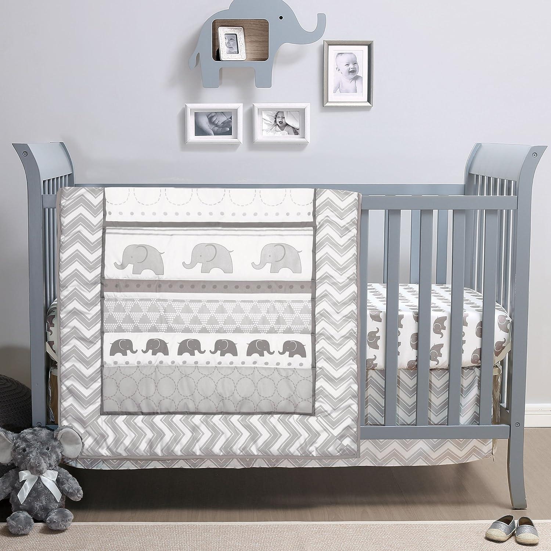 Elephant Walk 4-Piece Jungle Geometric Neutral Grey Chevron Baby Topics on TV Max 76% OFF
