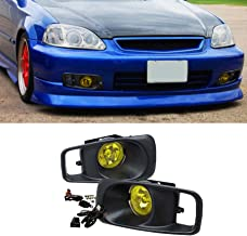 VioGi Fit 99-00 Honda Civic Yellow Lens Fog Lights Kit w/Bulbs+Cover+Switch+Wiring Harness+Relay+Bracket+Necessary Mounting Hardware