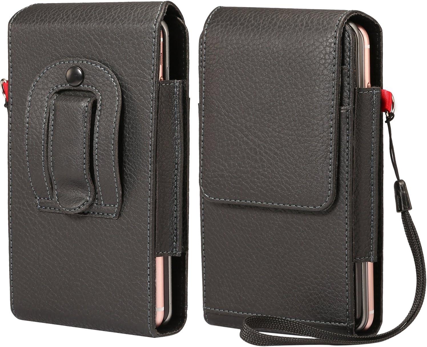 Workout Faux Leather Phone Belt Clip Holster Card Slots Pouch Case for LG Stylo 4 Plus/Stylo 4 / V40 ThinQ / G7 ThinQ/HTC U12+ / U12 Life / U11 Eyes/BLU R2 Plus/ViVo X/ViVo XL+ / XL3 Plus