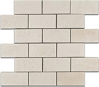 White Pearl / Botticino Marble 2 X 4 Polished Brick Mosaic Tile - 6