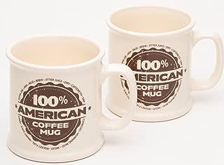 American Mug Pottery Ceramic Coffee Mug, Made in USA, Ivory, 16 oz - Pack of 2