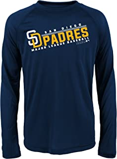 MLB Youth 8-20 Padres performance Long sleeve Tee, L(14-16), Athletic Navy