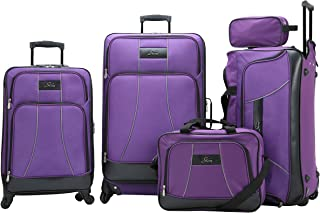 Skyway Soft Trolley Luggage, 5 Pc Set, with 4 sppiner wheels - Purple 001