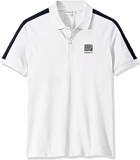 Lacoste Men's S/S Mini Pique Stretch Stripe Sleeve Slim Stretch FIT Polo Shirt, White/Navy Blue, 4XL