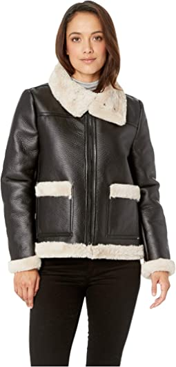 Petite Long Sleeve Pleather Shearling Trimmed Jacket