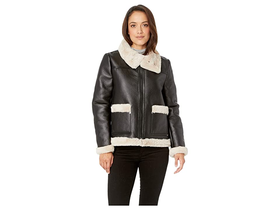 Vince Camuto Specialty Size Petite Long Sleeve Pleather Shearling Trimmed Jacket (Rich Black) Women