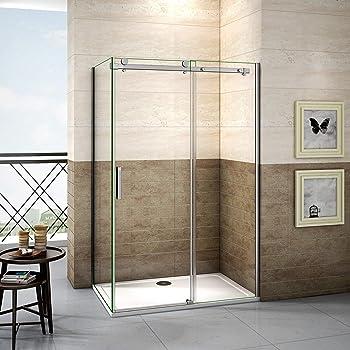 Mamparas Angular Doble Puertas Correderas Gris Mate Cristal 5mm para Ducha 100x70cm: Amazon.es: Bricolaje y herramientas