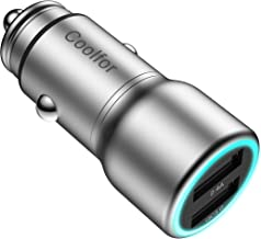 COOLFOR Car Charger - Quick Charge 3.0 Copper Metal Car Charger Adapter 30W Dual USB Ports - Compatible with Samsung, iPhone, iPad, LG, Google Pixel,Tablets and All Other USB Devices,Silver