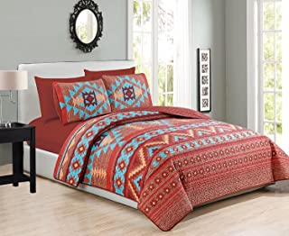 Western Southwestern Native Indian American 6 Piece Bedding Quilt Bedspread And Fitted Sheet Set NO FLAT SHEET In Turquoise Red Orange Brown (6PC Queen)
