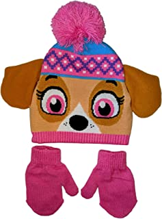 Paw Patrol Skye Girls' Beanie Hat and Mittens Set with 3D Design
