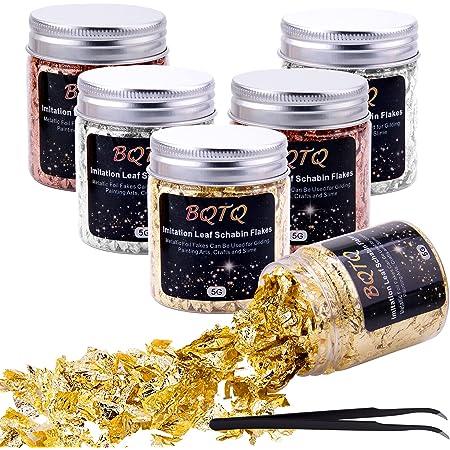 BQTQ 6 Bouteilles Flocons de Feuille d'or/d'argent/d'or Rose Métalliques Feuille dor pour Resine, Peinture, Ongle et Décoration, 5g/Bouteilles