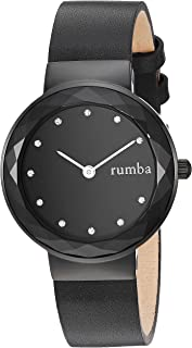 RumbaTime Women's 'Santa Monica' Quartz Stainless Steel and Leather Casual Watch, Color:Black (Model: 26955)