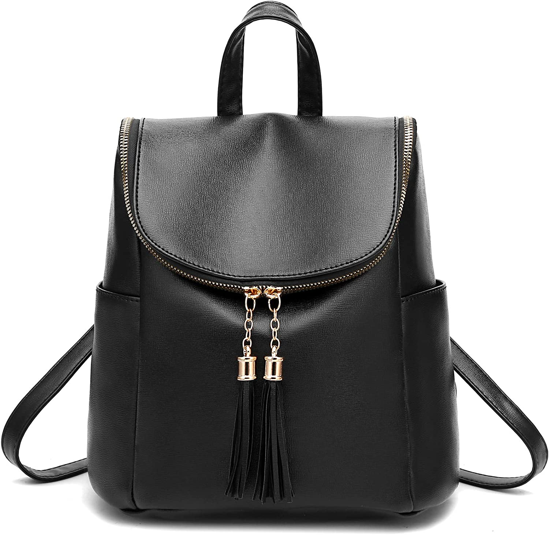 Girls Mini Backpack Purse for Women PU Leather Fashion Backpack Shoulder Bag with Charm Tassel